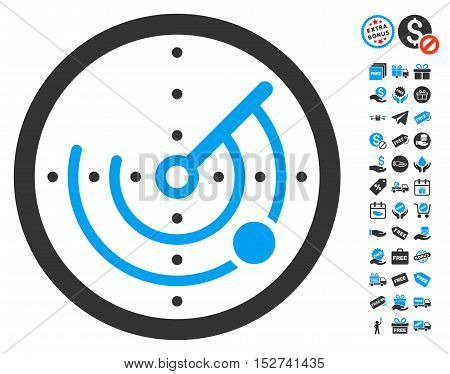 Radar icon with free bonus graphic icons. Vector illustration style is flat iconic symbols, blue and gray colors, white background.