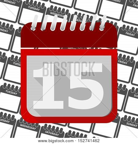 Red Calendar - Vector Icon number 15