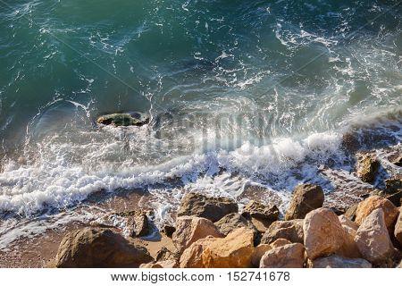 Beautiful marine landscape with sea waves and coastline