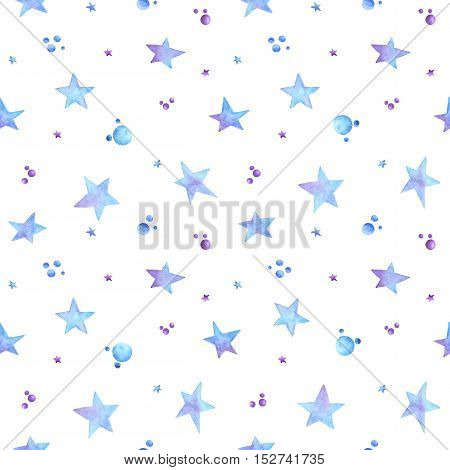 Seamless pattern with hand painted ombre blue and violet watercolor stars drop confetti jellybeans dragee. Modern decoration gift box wallpaper textile fabric wrapping paper. Winter theme