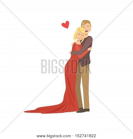 Couple In Love In Classy Outfits Hugging. Bright Color Cartoon Simple Style Flat Vector Illustration Isolated On White Background