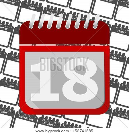 Red Calendar - Vector Icon number 18