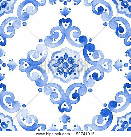 Delft blue style seamless pattern. Watercolor vintage filigree cobalt blue ornament for textile fabric wallpaper tableware. Dutch motives boho surface design. Holland tile motives blue background