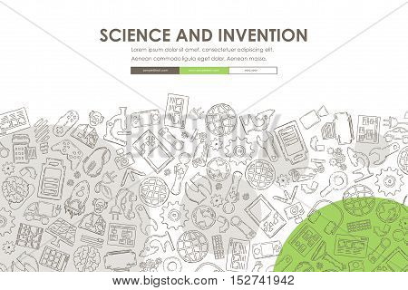 invention Website Template Design with Doodle Background