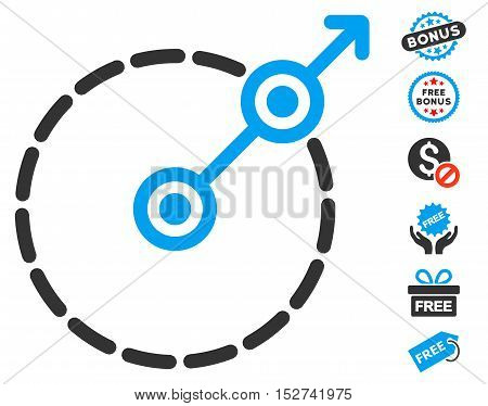 Round Area Exit icon with free bonus pictograms. Vector illustration style is flat iconic symbols, blue and gray colors, white background.
