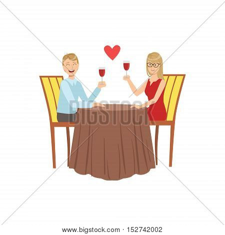 Couple In Love On The Date With Restaurant. Bright Color Cartoon Simple Style Flat Vector Illustration Isolated On White Background