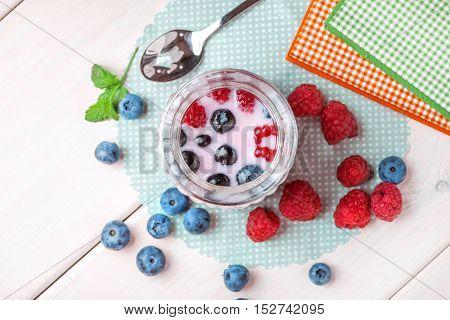 Vanilla Panna cotta with raspberry jelly. Christmas dessert. Shallow depth of field.