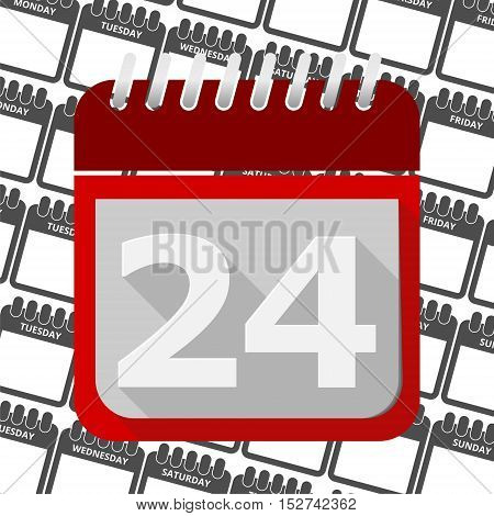 Red Calendar - Vector Icon number 24