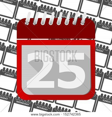 Red Calendar - Vector Icon number 25