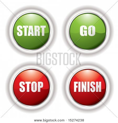 Stop start buttons in red and green with silver bevel