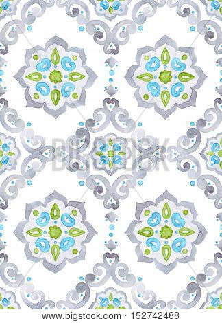 Watercolor filigree seamless pattern moroccan tiling ornament. Delicate pastel openwork lace pattern. Soft gray blue and green revival tracery design