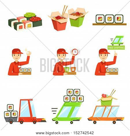 Asian Food Fast Delivery Service Process Info Illustration. Set Of Vector Illustrations In Simple Style Demonstrating Steps Of Food Home Delivery Service.