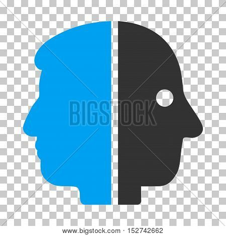 Blue And Gray Dual Face interface pictogram. Vector pictogram style is a flat bicolor symbol on chess transparent background.