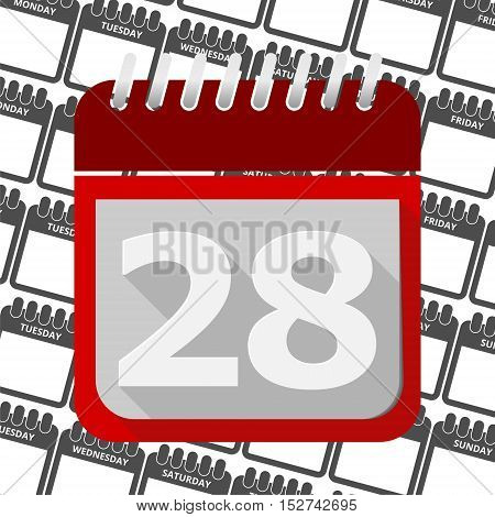 Red Calendar - Vector Icon number 28