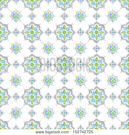 Watercolor filigree seamless pattern renaissance tracery design. Delicate pastel openwork lace pattern. Soft gray blue and green Mediterranean tiling ornament
