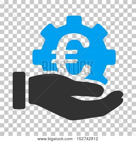 Blue And Gray Euro Development Service Hand interface pictogram. Vector pictograph style is a flat bicolor symbol on chess transparent background.