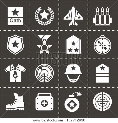 Vector Military icon set on black background