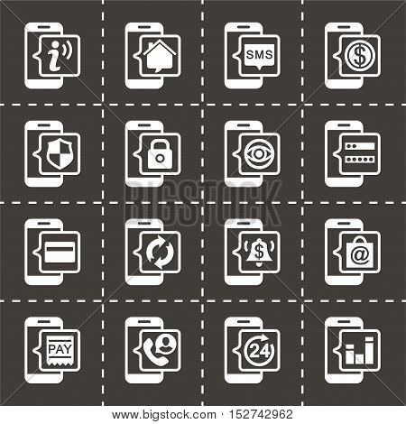 Vector Mobile banking icon set on black background
