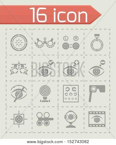 Vector Optometry icon set on grey background