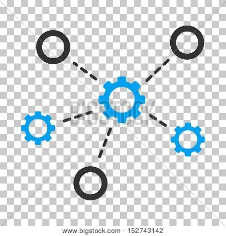 Blue And Gray Gears Relations interface icon. Vector pictogram style is a flat bicolor symbol on chess transparent background.