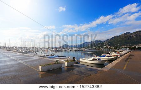 Marina Dock With Standing Boats