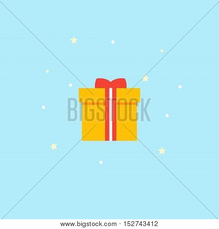 New Years gift - vector Icon. Yellow box with red bow - illustration in flat style.