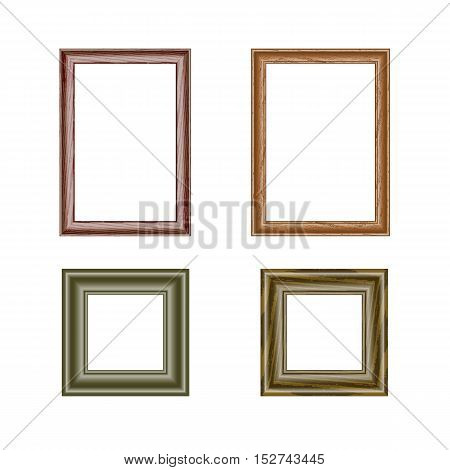 Set of four rectangular frames. different sizes and patterns. isolate on a light background, it is easy to cut to your design.