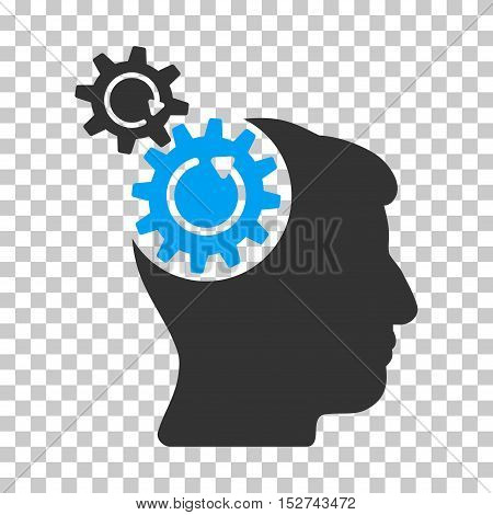 Blue And Gray Head Cogs Rotation interface pictogram. Vector pictograph style is a flat bicolor symbol on chess transparent background.