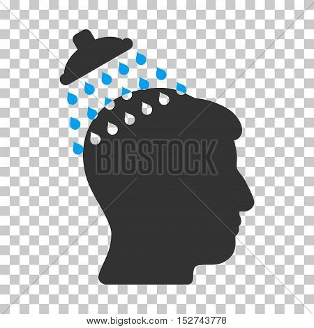 Blue And Gray Head Shower interface pictogram. Vector pictograph style is a flat bicolor symbol on chess transparent background.