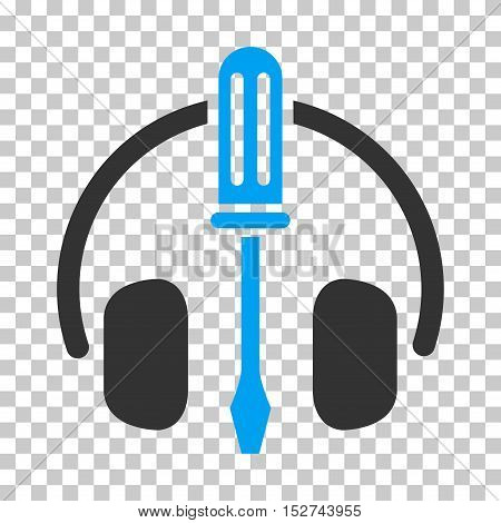 Blue And Gray Headphones Tuning Screwdriver interface toolbar pictogram. Vector pictograph style is a flat bicolor symbol on chess transparent background.