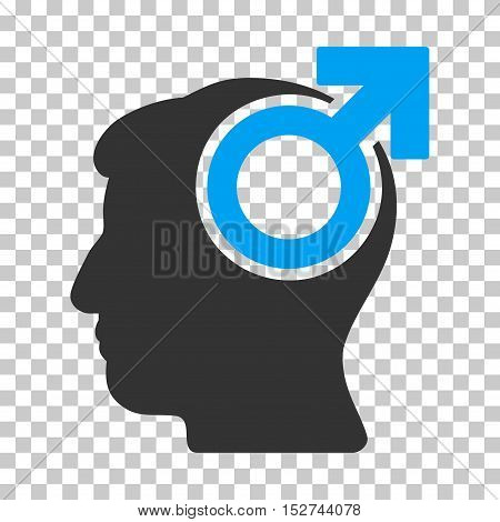 Blue And Gray Intellect Potency interface toolbar icon. Vector pictogram style is a flat bicolor symbol on chess transparent background.