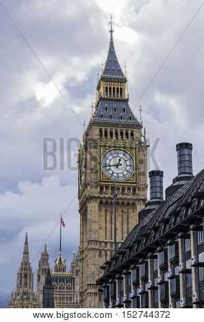 Big Ben in London against a cloudy sky, United Kingdom.