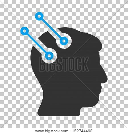 Blue And Gray Neural Interface Connectors interface toolbar icon. Vector pictogram style is a flat bicolor symbol on chess transparent background.