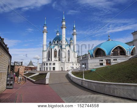 View of the beautiful mosque in Kazan Kremlin. One of the largest mosques in Russia. UNESCO World Heritage Site.