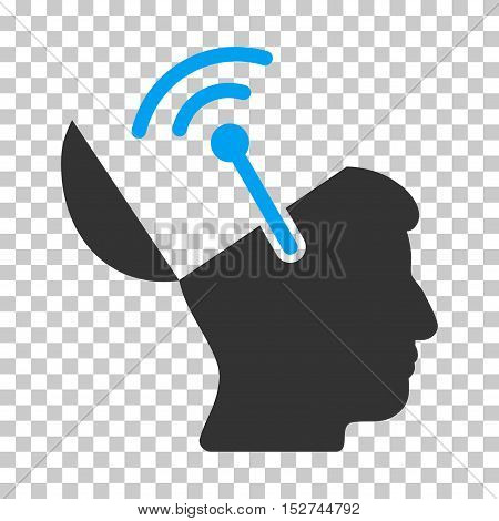 Blue And Gray Open Brain Radio Interface toolbar icon. Vector pictogram style is a flat bicolor symbol on chess transparent background.