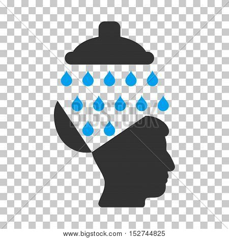 Blue And Gray Open Brain Shower toolbar icon. Vector pictograph style is a flat bicolor symbol on chess transparent background.