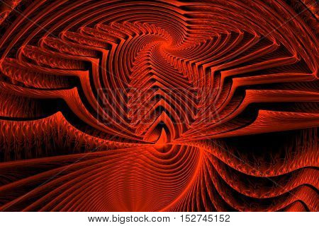 Abstract Bright Magic Fractal Red On Black