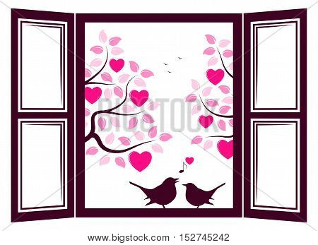 vector couple of birds in the window and heart trees outside the window