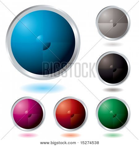 Six Illustrated colorful buttons with a drop shadow