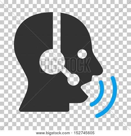 Blue And Gray Operator Speech Sound Waves interface toolbar icon. Vector pictogram style is a flat bicolor symbol on chess transparent background.