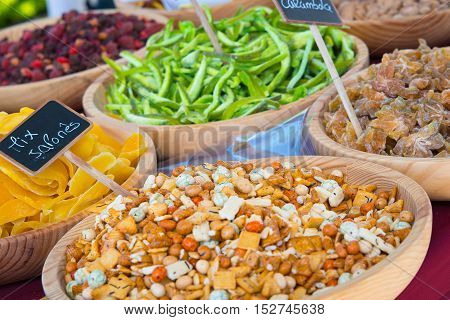 Dried fruits assortment at market in celebration of AlmossassaMarvao Portugal.