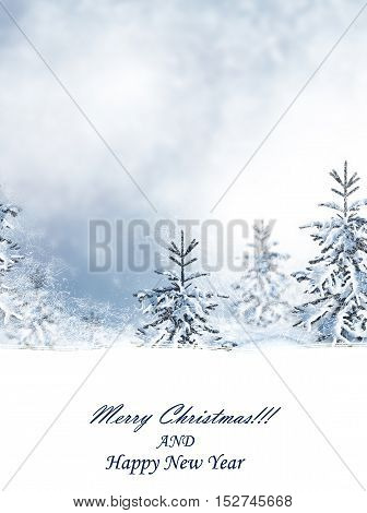 Winter landscape. Snow covered trees. Happy New Year and Merry Christmas