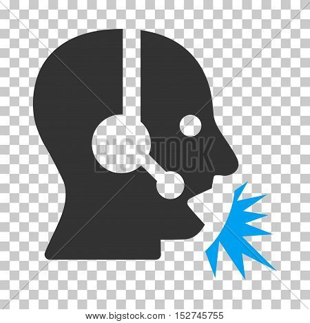 Blue And Gray Operator Speech interface toolbar pictogram. Vector pictograph style is a flat bicolor symbol on chess transparent background.