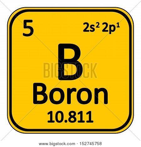 Periodic table element boron icon on white background. Vector illustration.