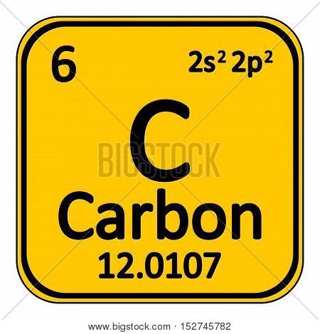 Periodic table element carbon icon on white background. Vector illustration.