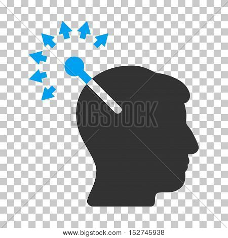 Blue And Gray Optical Neural Interface interface toolbar icon. Vector pictograph style is a flat bicolor symbol on chess transparent background.