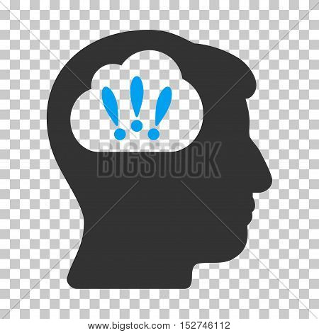 Blue And Gray Problem Brainstorm interface toolbar pictogram. Vector pictogram style is a flat bicolor symbol on chess transparent background.