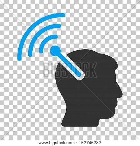 Blue And Gray Radio Neural Interface interface toolbar pictogram. Vector pictograph style is a flat bicolor symbol on chess transparent background.