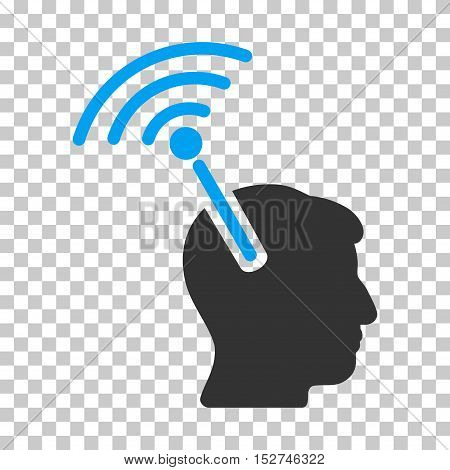 Blue And Gray Radio Neural Interface interface pictogram. Vector pictograph style is a flat bicolor symbol on chess transparent background.