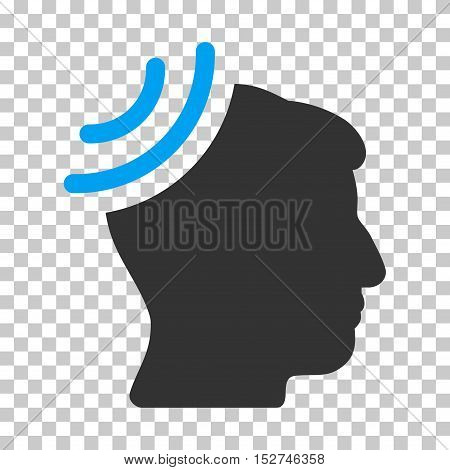 Blue And Gray Radio Reception Brain toolbar pictogram. Vector pictogram style is a flat bicolor symbol on chess transparent background.